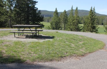 Picnic table overlooking Gibbon River at Norris Campground