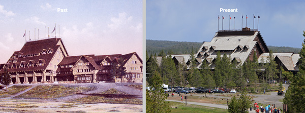 old faithful inn front view past and present