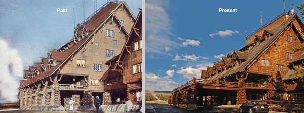 old faithful inn exterior past and present