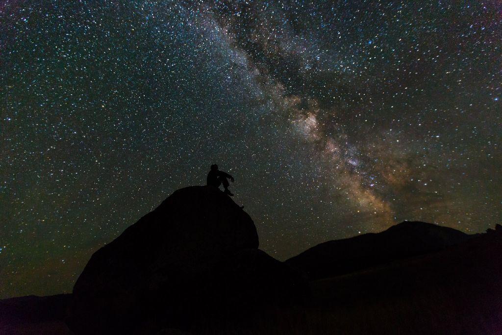 Enjoying the night sky, Mammoth Hot Springs