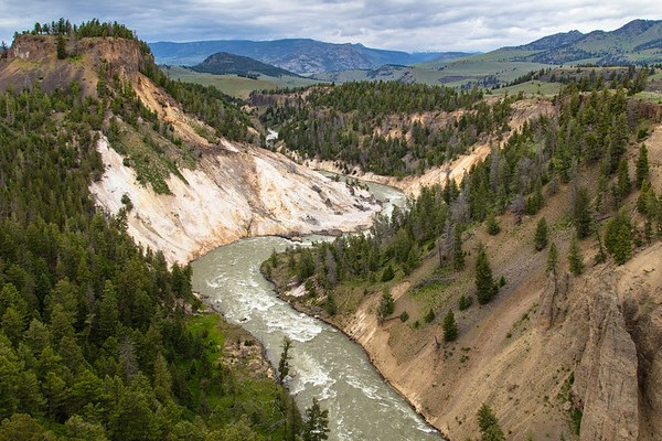 Views of Yellowstone River from Calcite Springs Overlook looking down river
