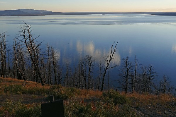 Yellowstone Lake in the evening from Lake Butte Overlook